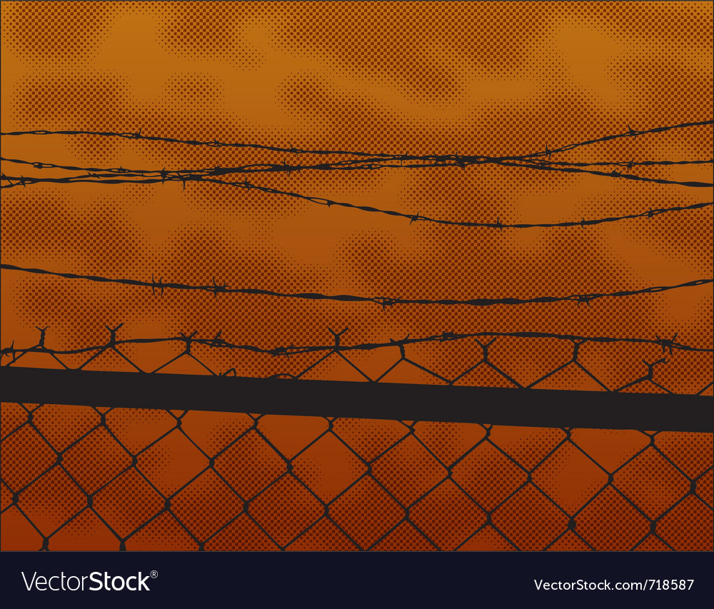 Silhouette fence at sunset vector | Price: 1 Credit (USD $1)
