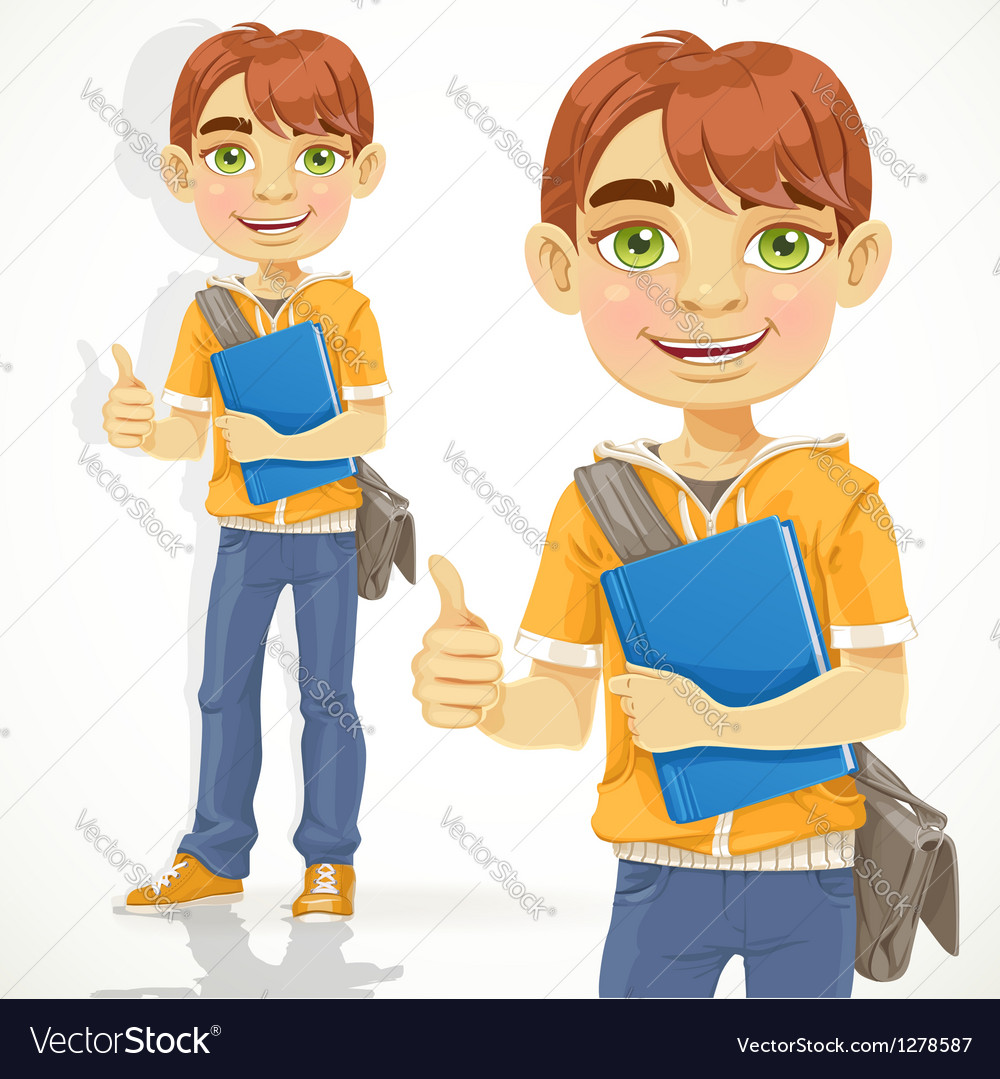 Teenage boy with a textbook shows ok vector | Price: 1 Credit (USD $1)