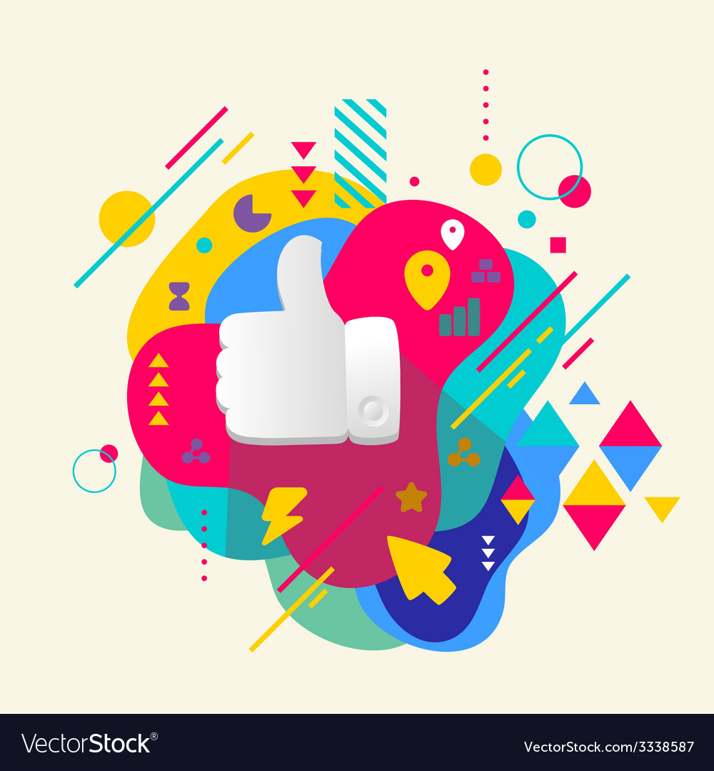 Thumb up on abstract colorful spotted background vector | Price: 3 Credit (USD $3)