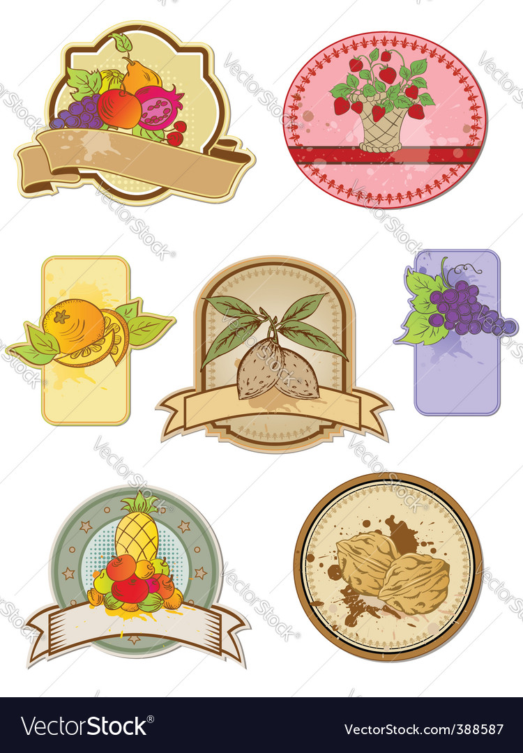 Vintage food labels vector | Price: 1 Credit (USD $1)