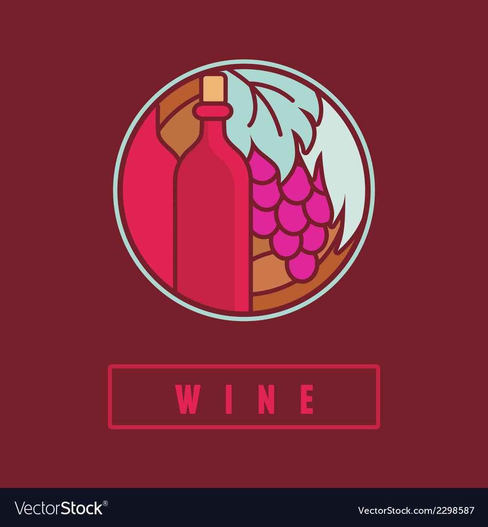 Wine label in flat simple style vector | Price: 1 Credit (USD $1)