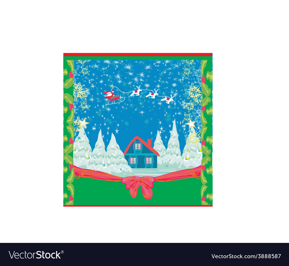 Winter christmas card with santa claus home and vector | Price: 1 Credit (USD $1)