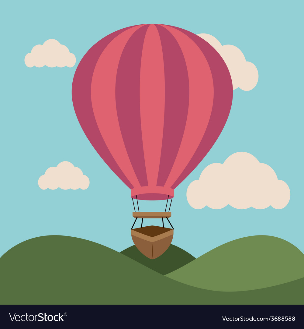 Airballoon design over landscape background vector | Price: 1 Credit (USD $1)