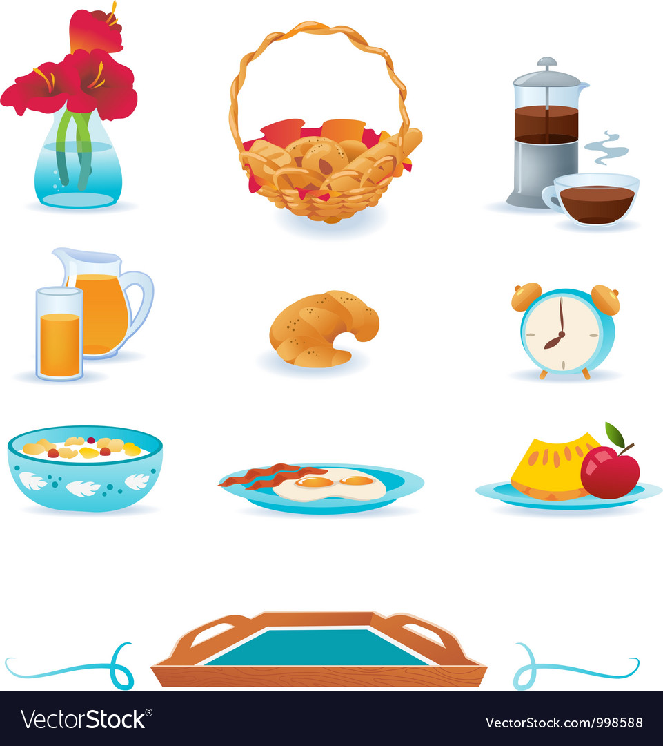 Blue breakfast icons set vector | Price: 1 Credit (USD $1)