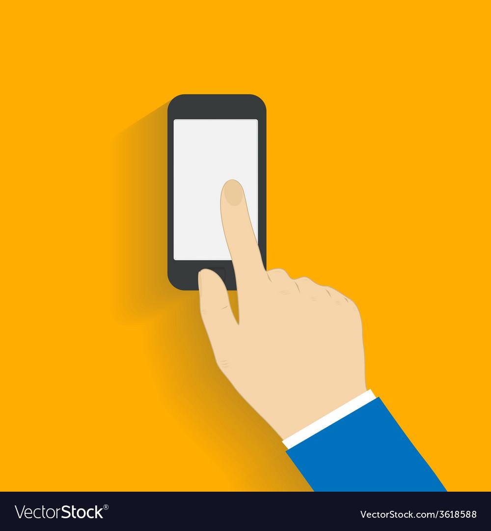 Business man controls black smartphone vector | Price: 1 Credit (USD $1)