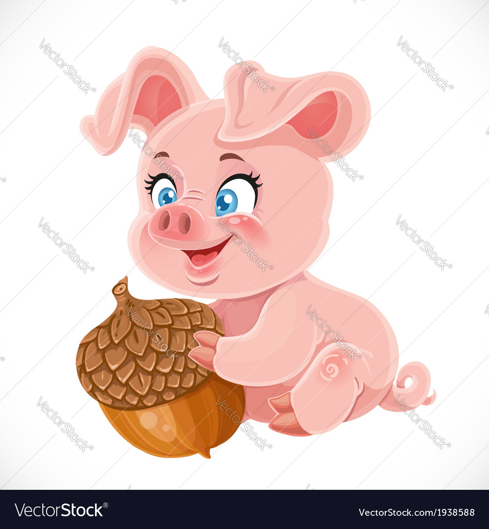 Cute cartoon happy baby pig holding a large acorn vector | Price: 3 Credit (USD $3)
