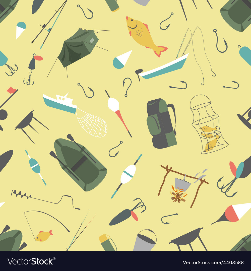 Fishing seamless pattern fishing design elements vector | Price: 1 Credit (USD $1)