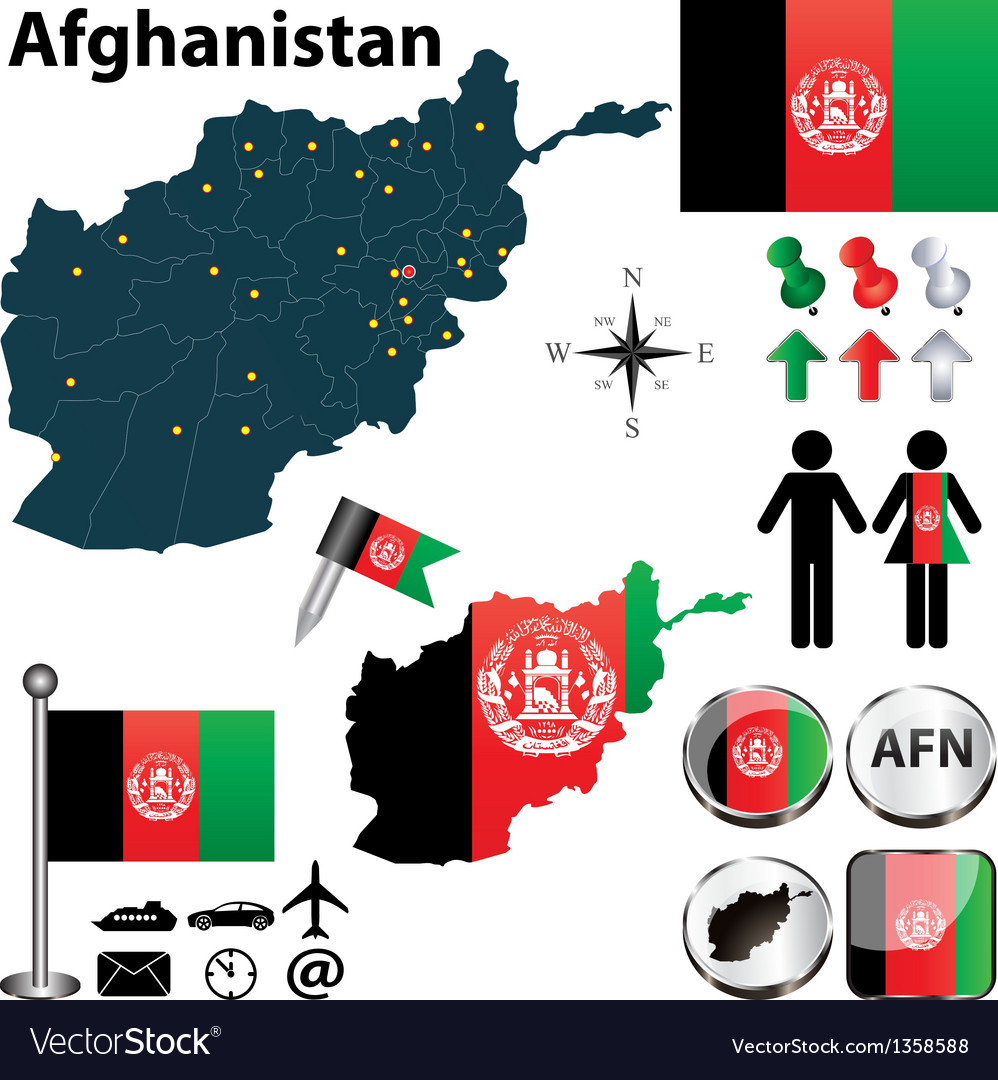 Map of afghanistan vector | Price: 1 Credit (USD $1)