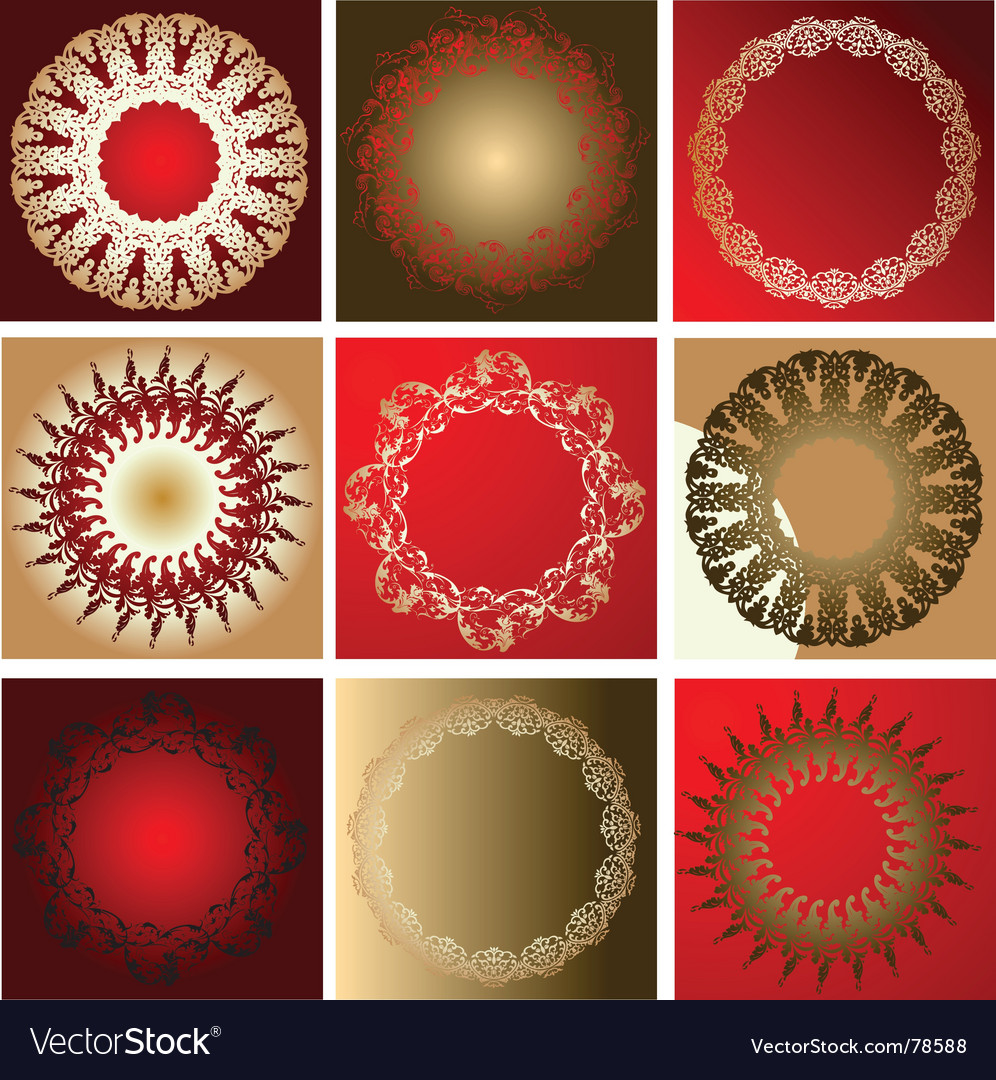 Red gold various quad ornament vector | Price: 1 Credit (USD $1)