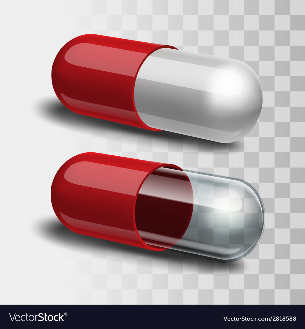 Red pills with white and transparent vector | Price: 1 Credit (USD $1)