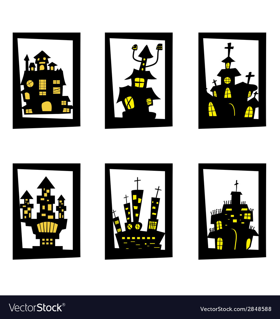 Set house halloween vector | Price: 1 Credit (USD $1)
