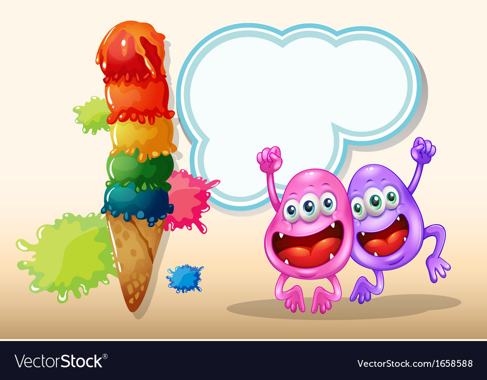 Two happy monsters jumping near the giant icecream vector | Price: 3 Credit (USD $3)