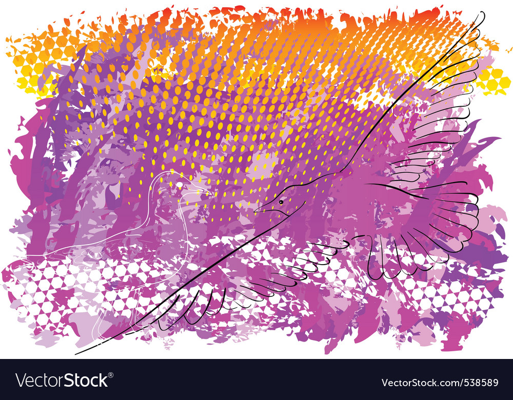 Abstract background with flying seagull vector | Price: 1 Credit (USD $1)