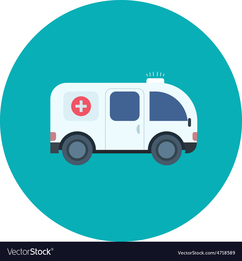 Ambulance car icon in flat design style vector | Price: 1 Credit (USD $1)