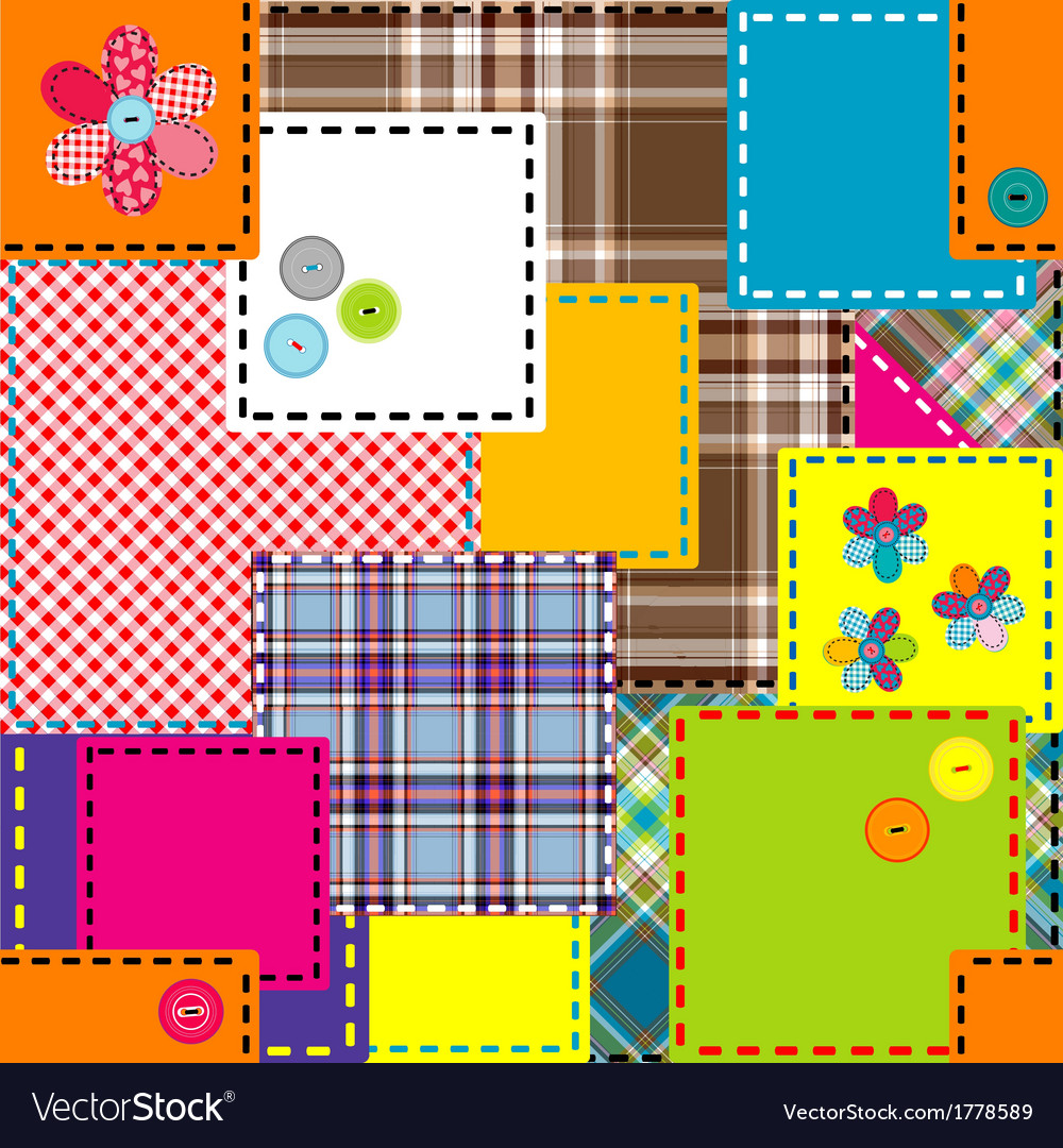 Background made of colored sewed patches vector | Price: 1 Credit (USD $1)