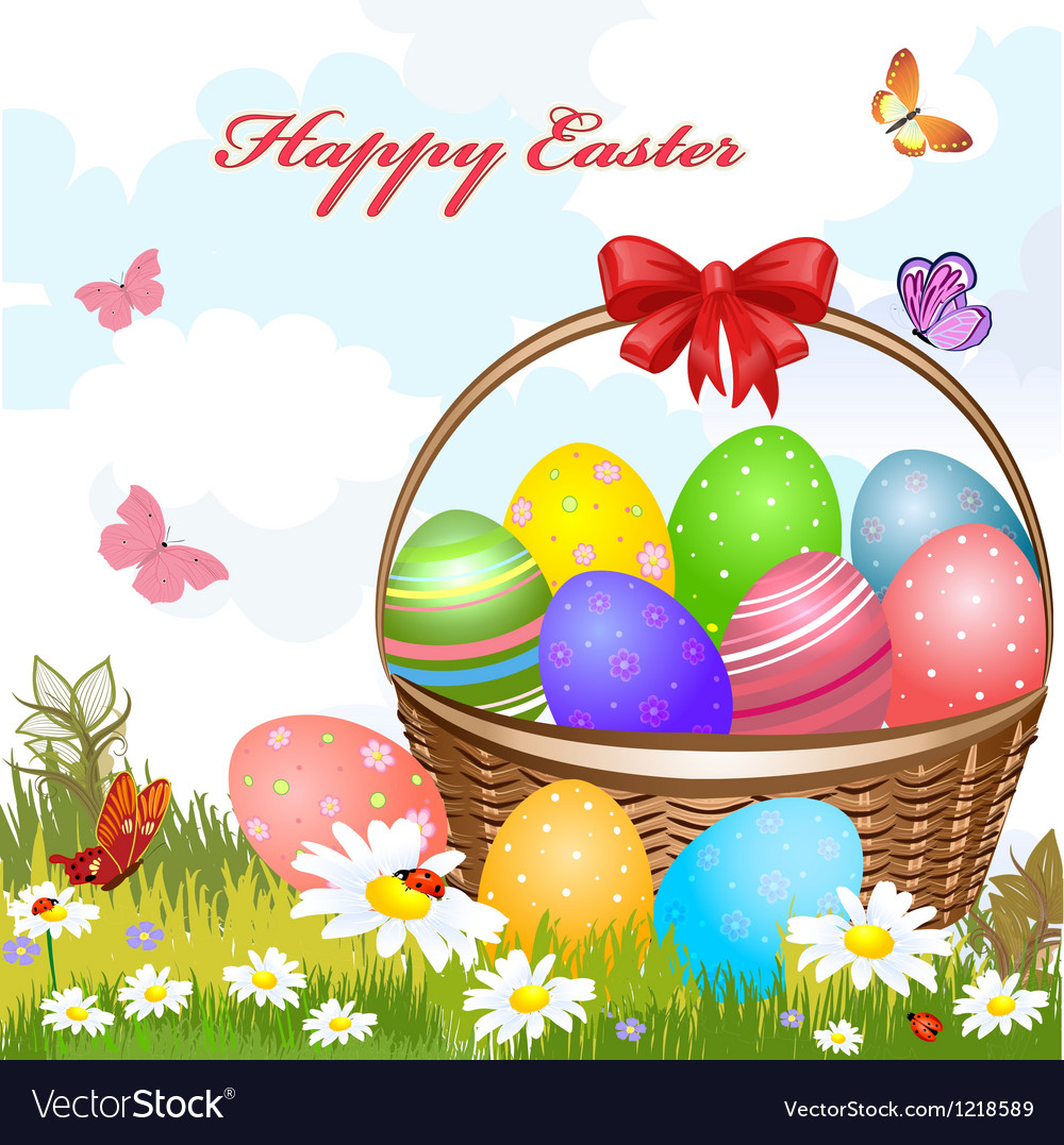 Basket easter2 vector | Price: 3 Credit (USD $3)