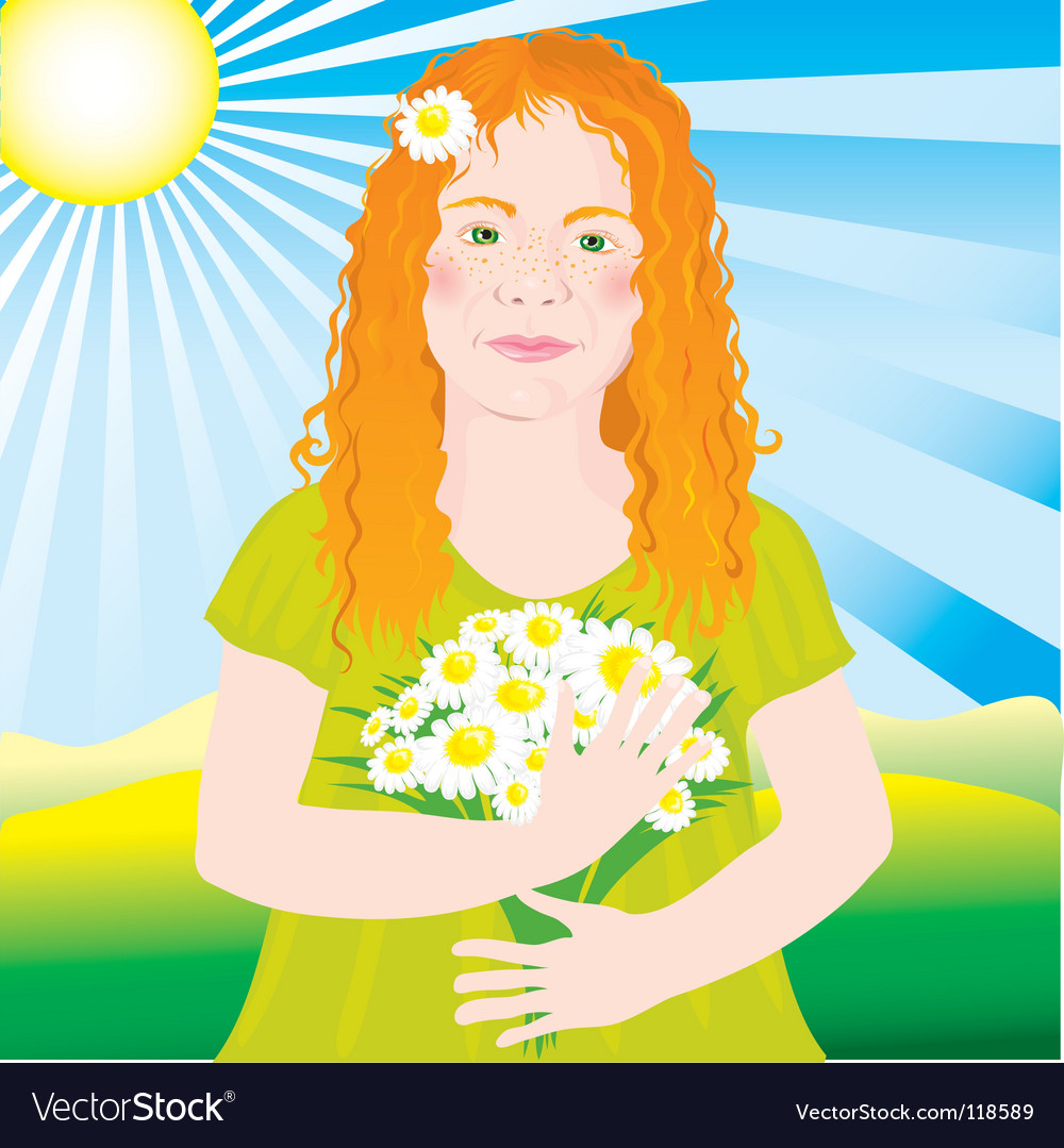 Ginger girl vector | Price: 3 Credit (USD $3)