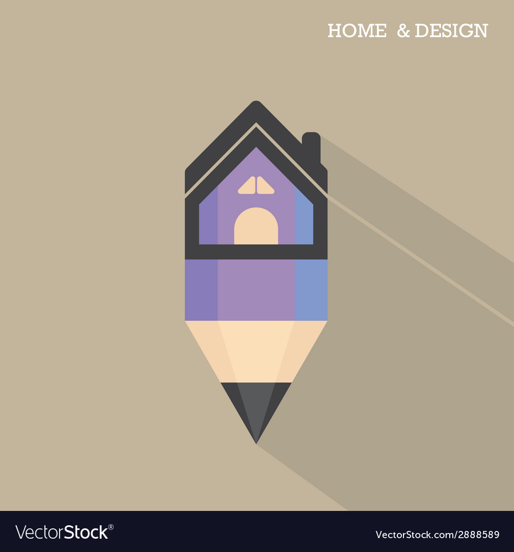 Home icon and pencil symbol in flat design vector | Price: 1 Credit (USD $1)