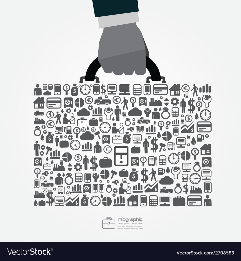 Infographic template with businessman hand hold vector | Price: 1 Credit (USD $1)