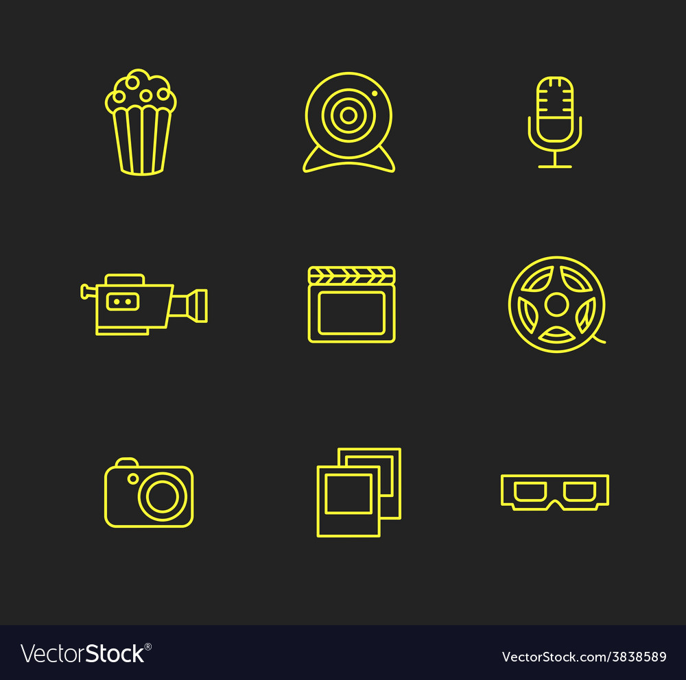 Media or multimedia icon set vector | Price: 1 Credit (USD $1)