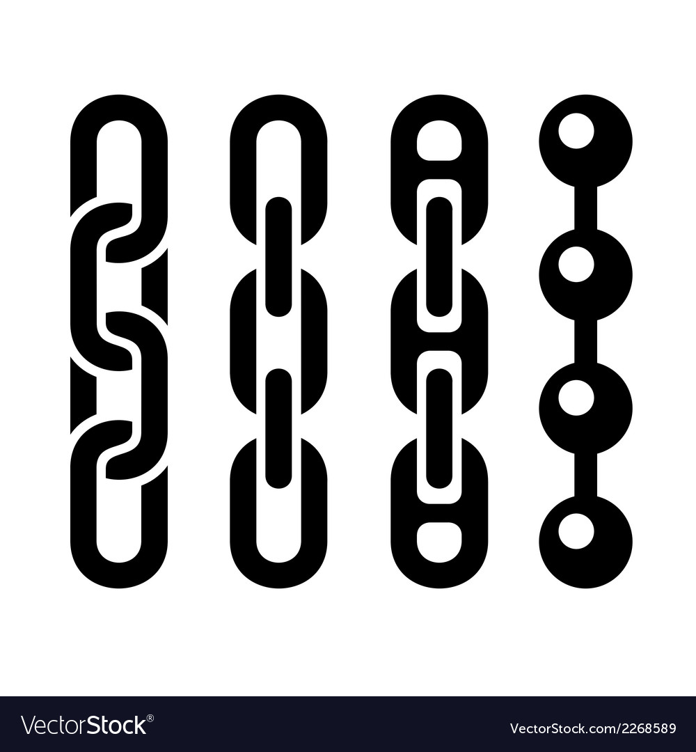 Metal chain parts icons set on white background vector | Price: 1 Credit (USD $1)