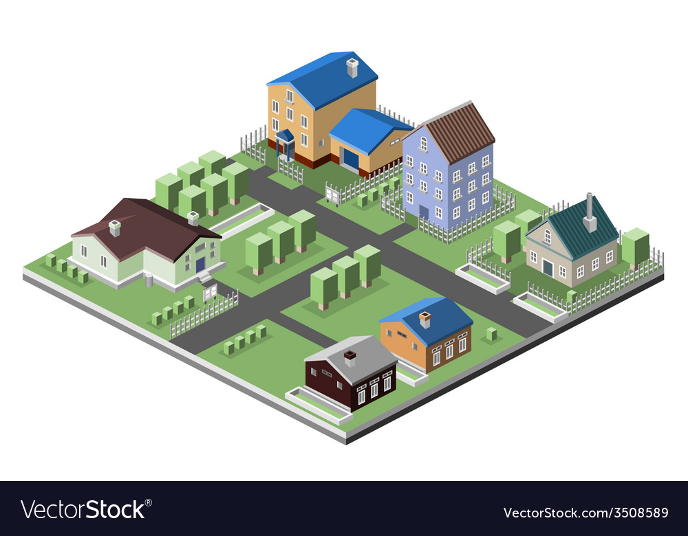Residential house buildings vector | Price: 1 Credit (USD $1)