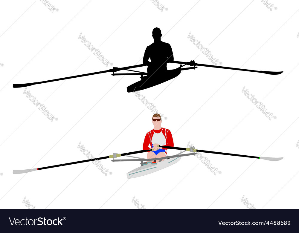 Rower silhouette and vector | Price: 1 Credit (USD $1)