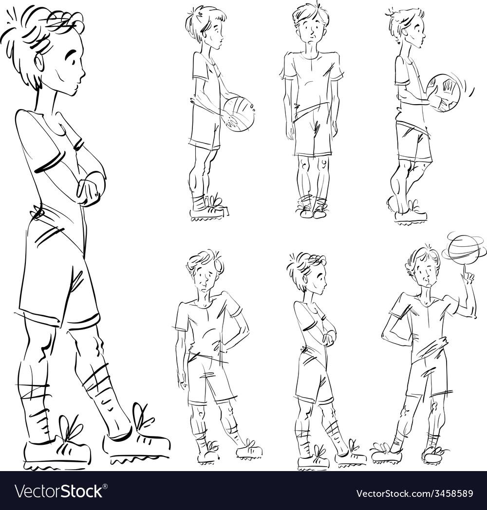 Set of full-length hand-drawn caucasian teens vector | Price: 1 Credit (USD $1)