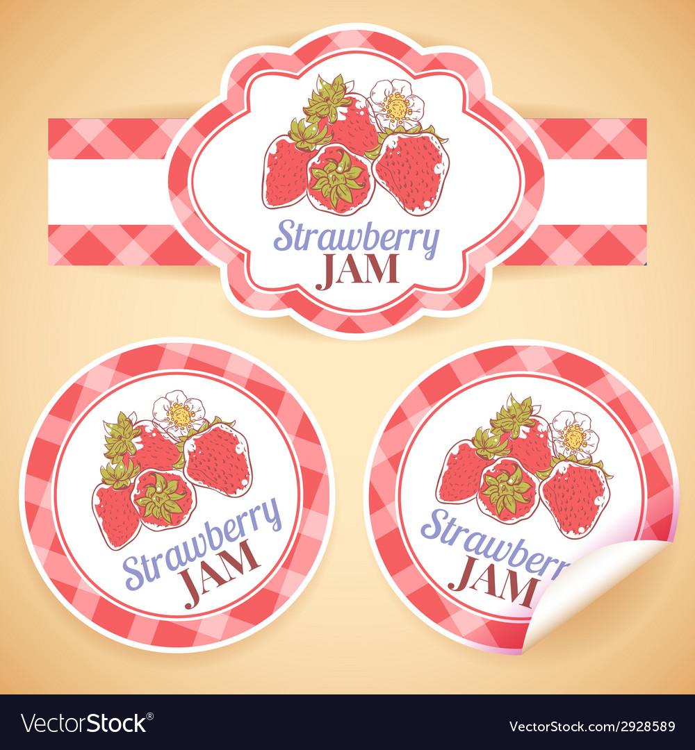 Strawberry jam labels vector   Price: 1 Credit (USD $1)