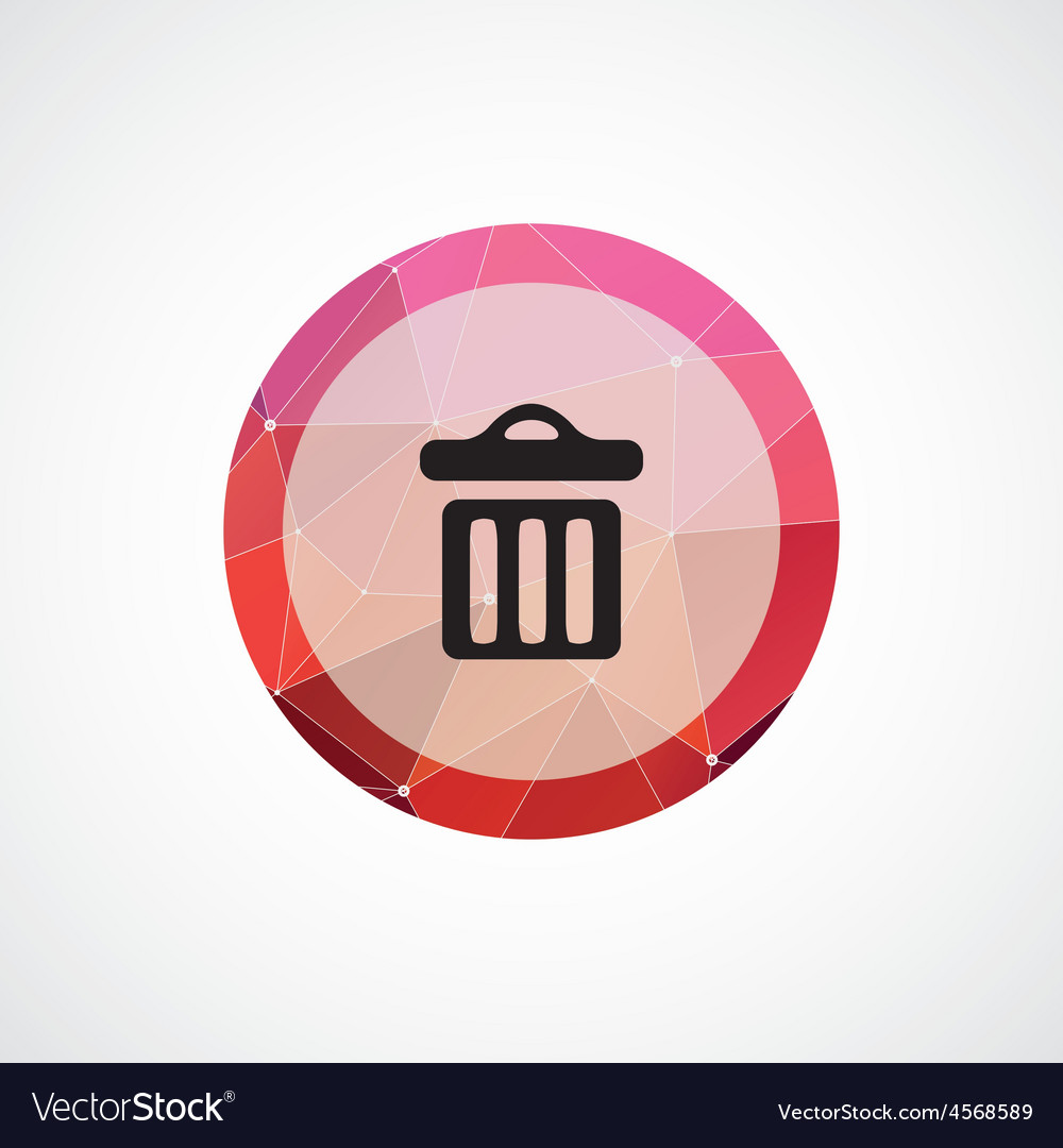 Trash bin circle pink triangle background icon vector | Price: 1 Credit (USD $1)