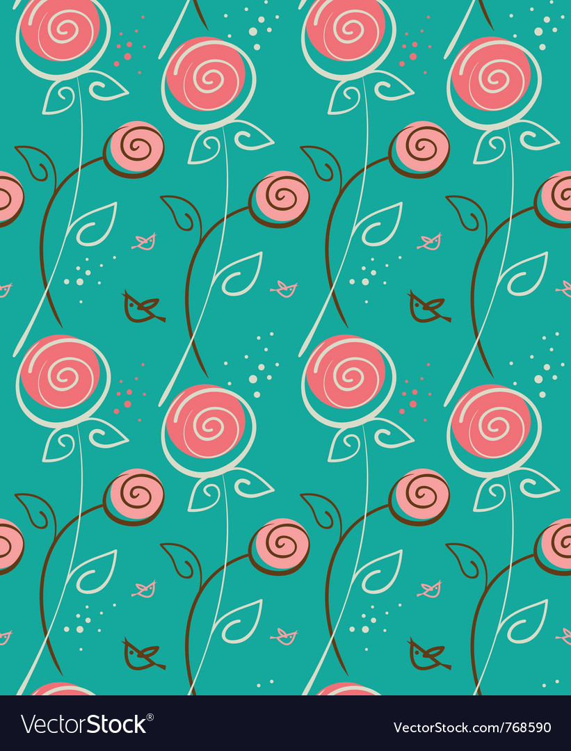 Abstract floral pattern with birds vector | Price: 1 Credit (USD $1)