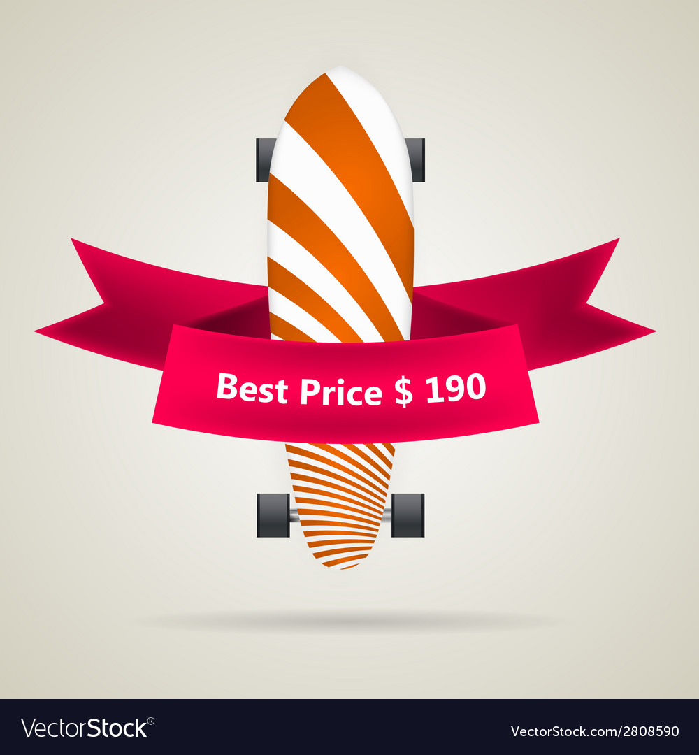 Ad layout for longboard with the best price vector | Price: 1 Credit (USD $1)