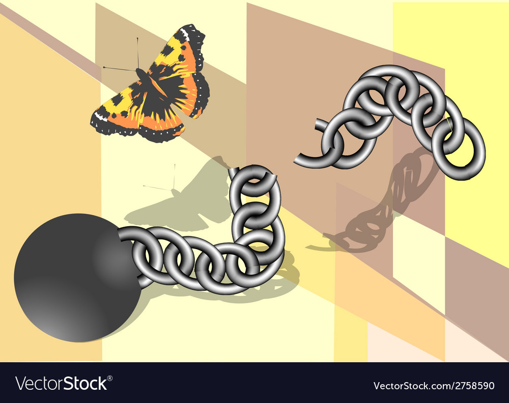 Chain and butterfly vector | Price: 1 Credit (USD $1)