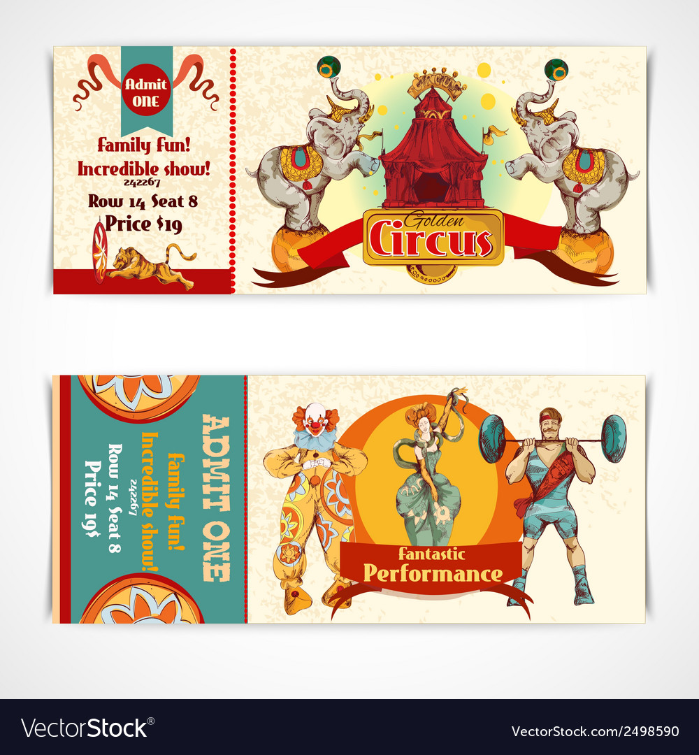 Circus vintage tickets set vector | Price: 1 Credit (USD $1)