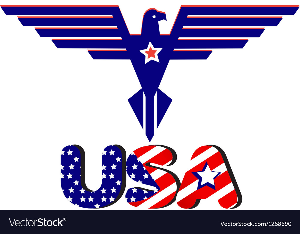 Eagle and usa word flag vector