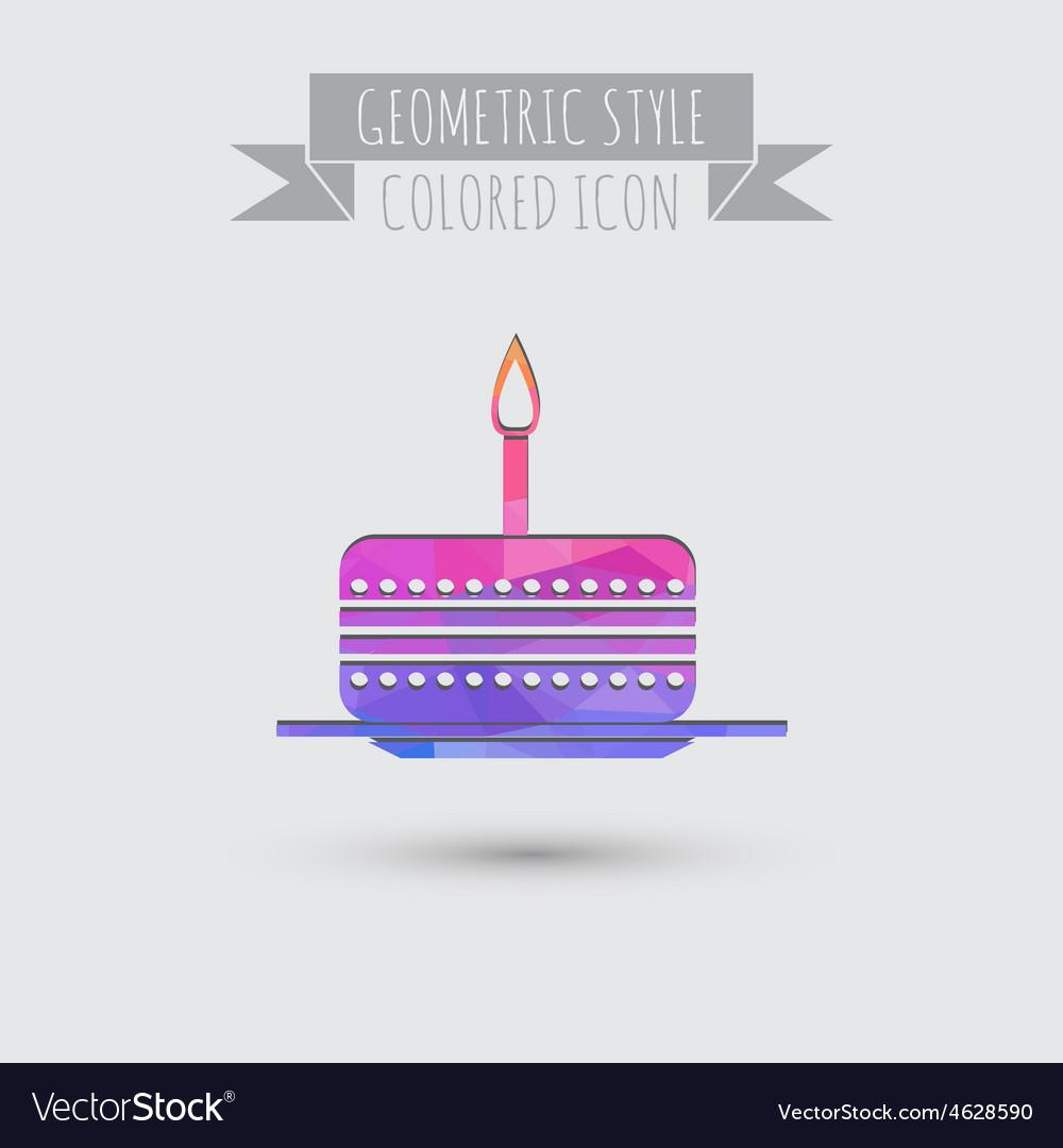 Icon birthday cake symbol of cake celebrating the vector | Price: 1 Credit (USD $1)