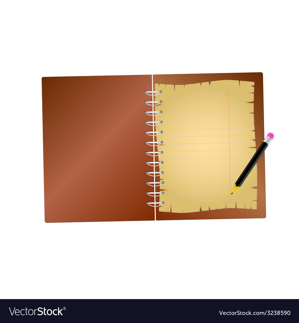Notebook with pencil vector | Price: 1 Credit (USD $1)