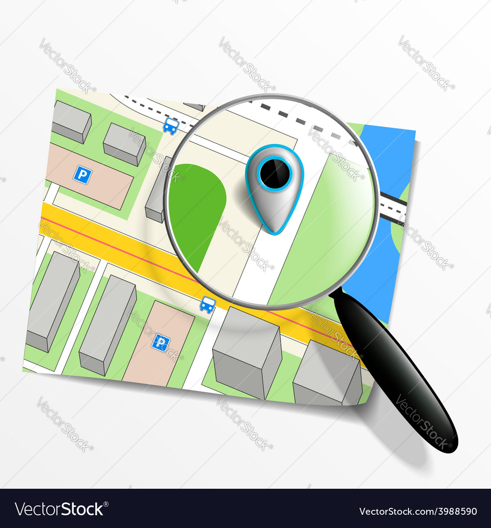 Pointer on the map and magnifying glass vector | Price: 1 Credit (USD $1)