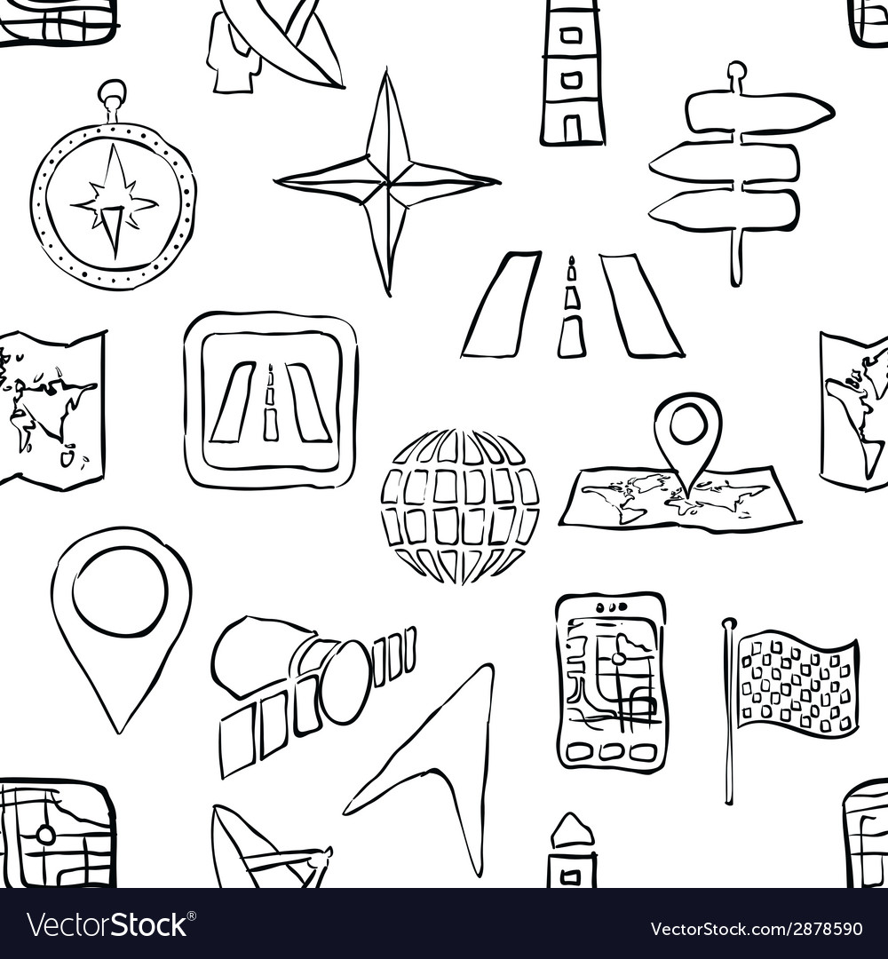 Sketch seamless navigation pattern vector | Price: 1 Credit (USD $1)