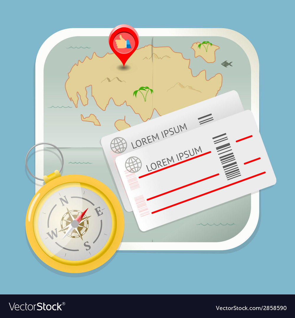 Travel map tickets compass icon vector | Price: 1 Credit (USD $1)