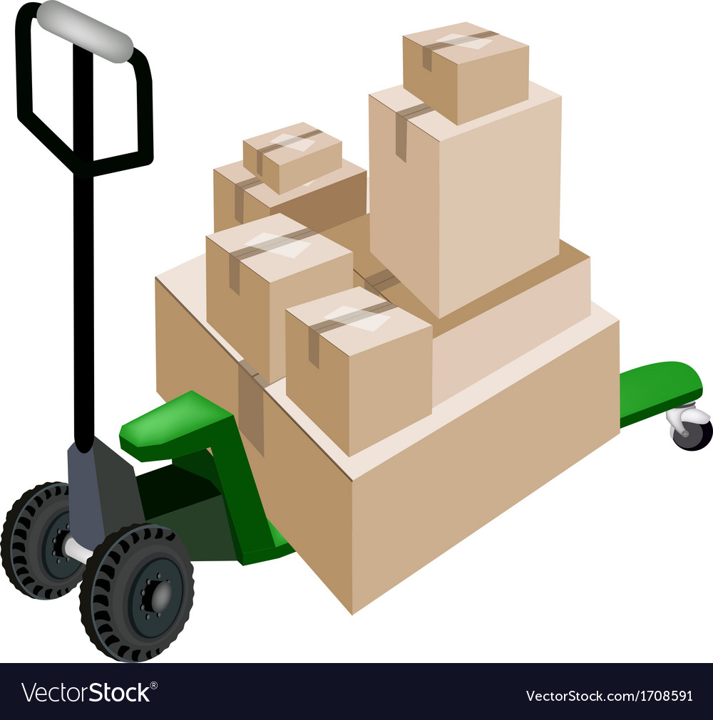 A pallet truck loading stack of shipping boxes vector | Price: 1 Credit (USD $1)