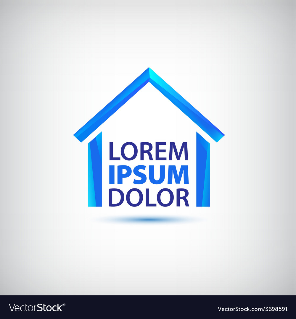 Blue house icon logo isolated vector | Price: 1 Credit (USD $1)