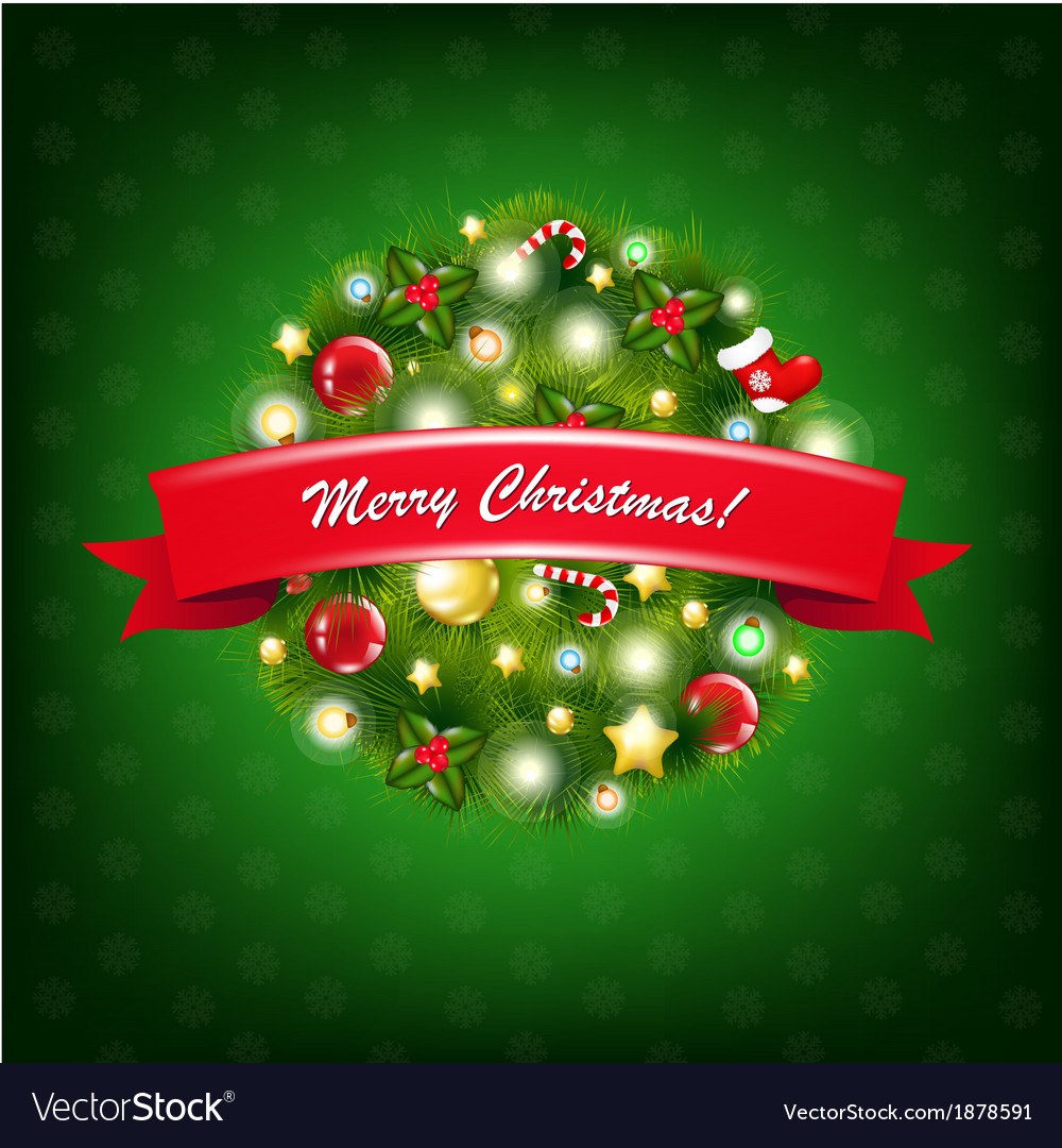 Christmas composition with red ribbon vector | Price: 1 Credit (USD $1)