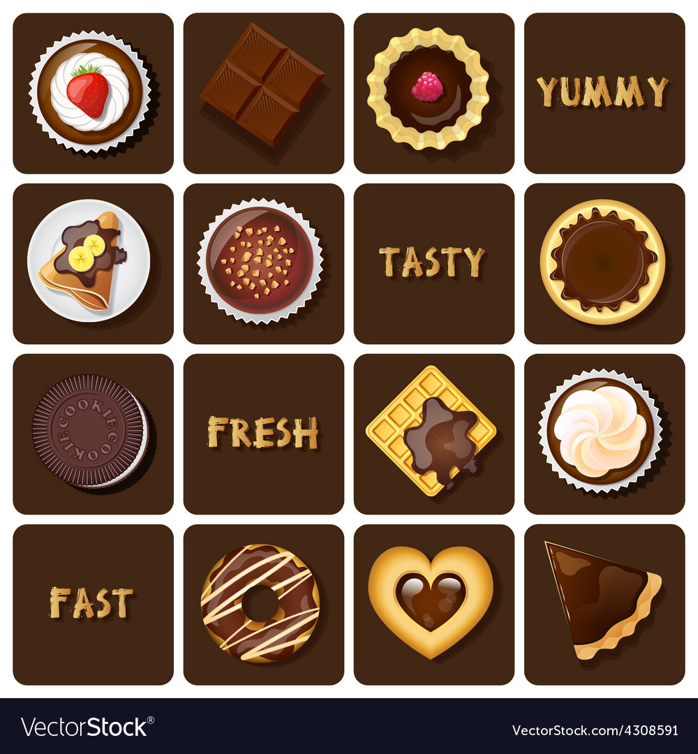 Collection of dessert and baked goods vector | Price: 1 Credit (USD $1)