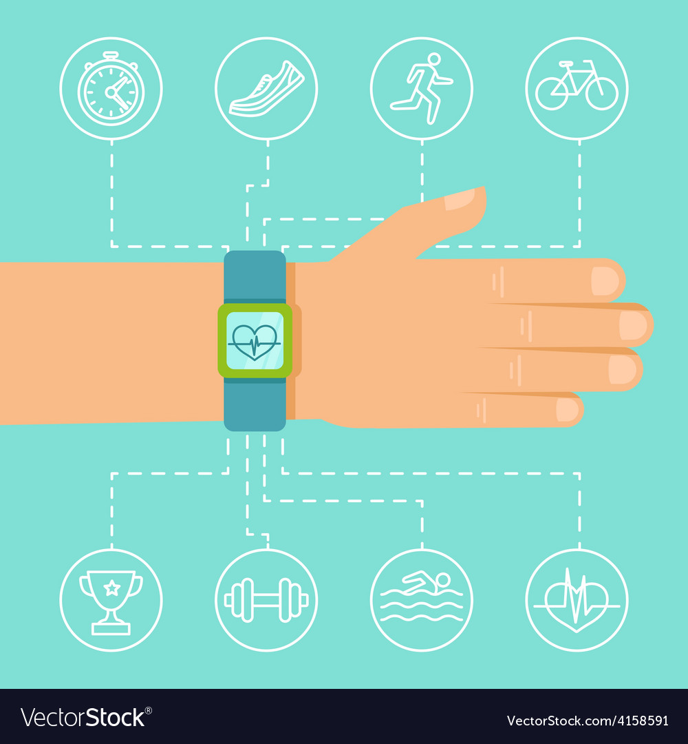 Fitness app and tracker on the wrist vector | Price: 1 Credit (USD $1)