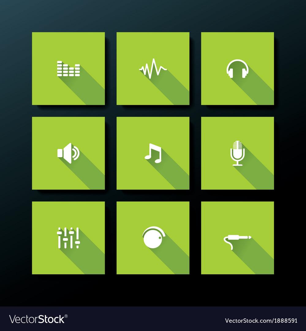 Flat audio icon set vector | Price: 1 Credit (USD $1)