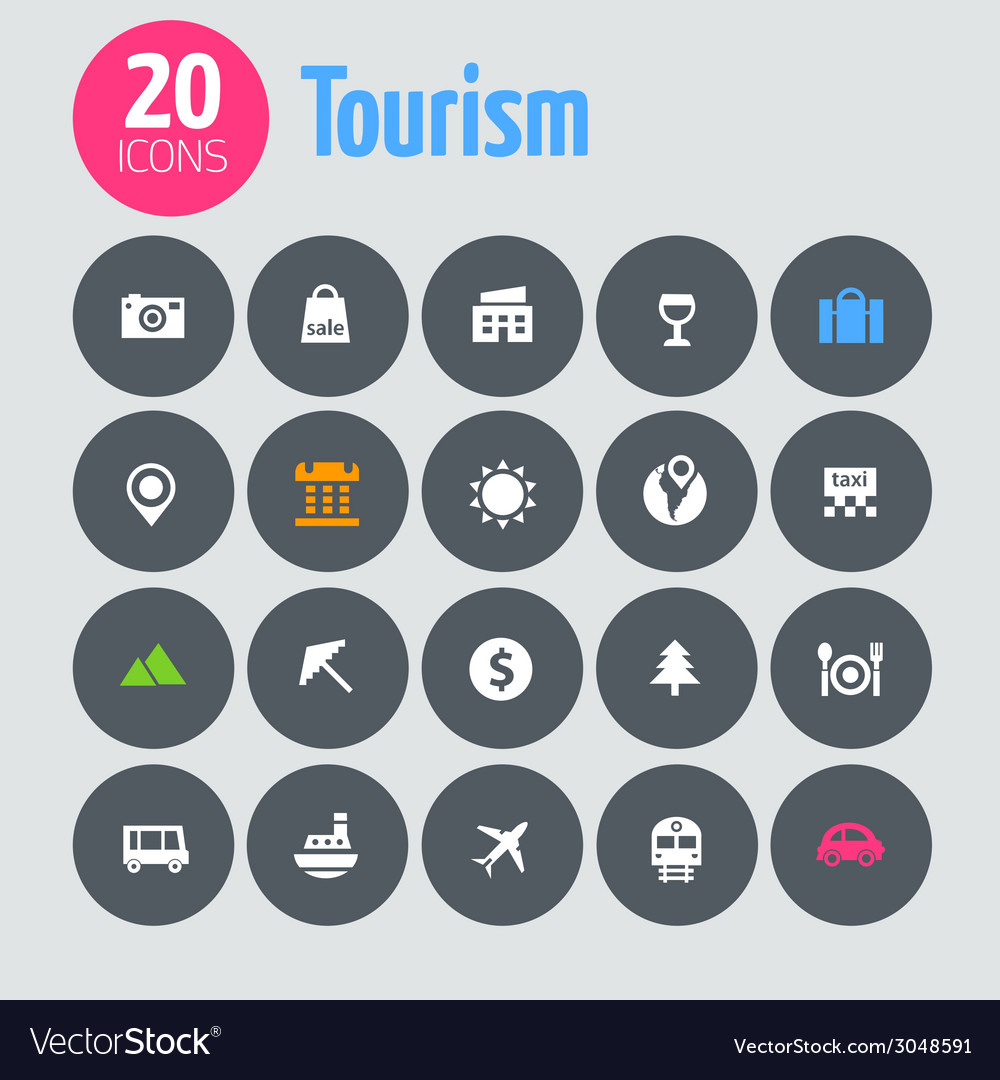 Flat minimalistic tourism icons on dark gray vector | Price: 1 Credit (USD $1)