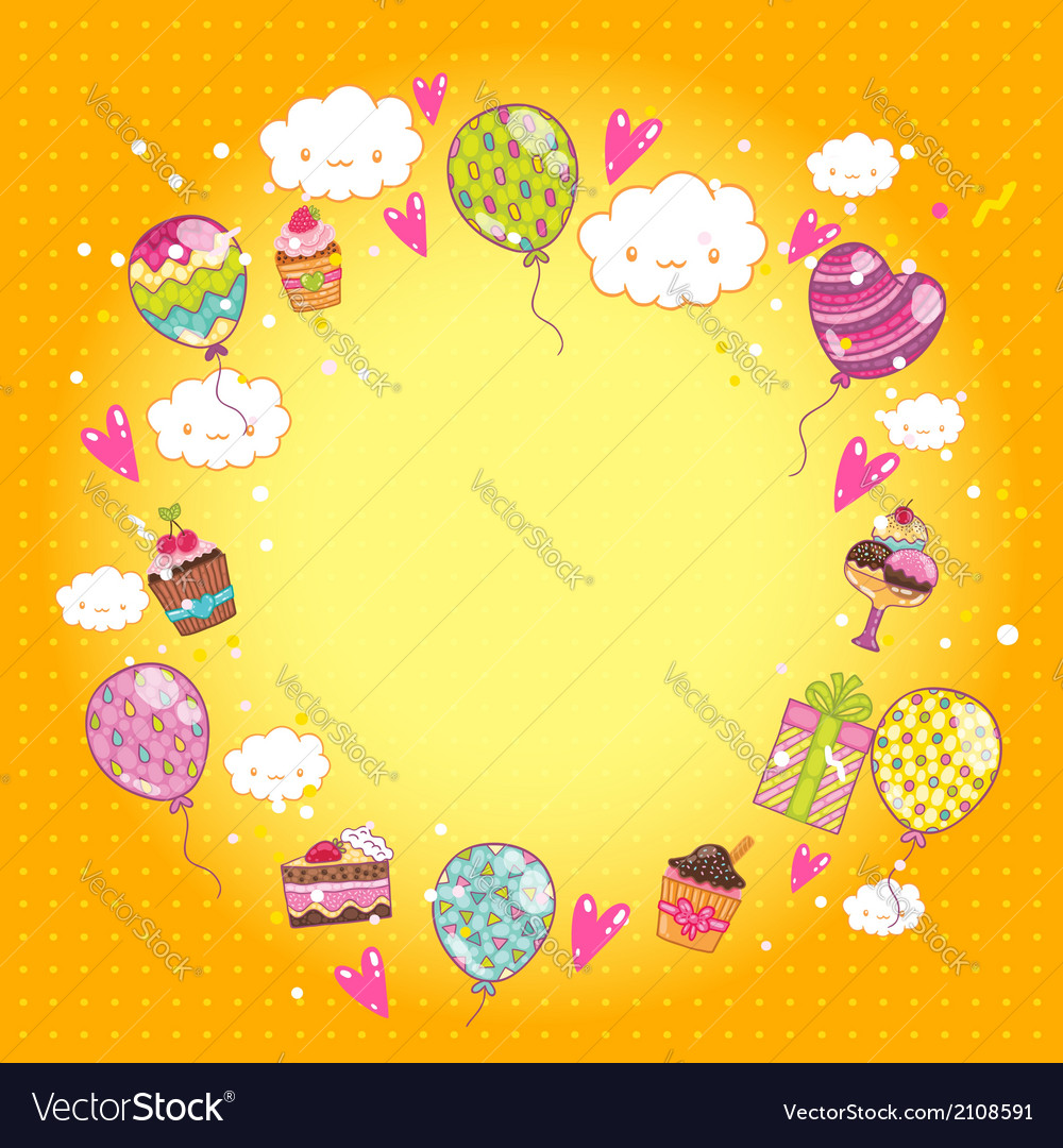 Happy birthday card with cupcakes and balloons vector | Price: 1 Credit (USD $1)