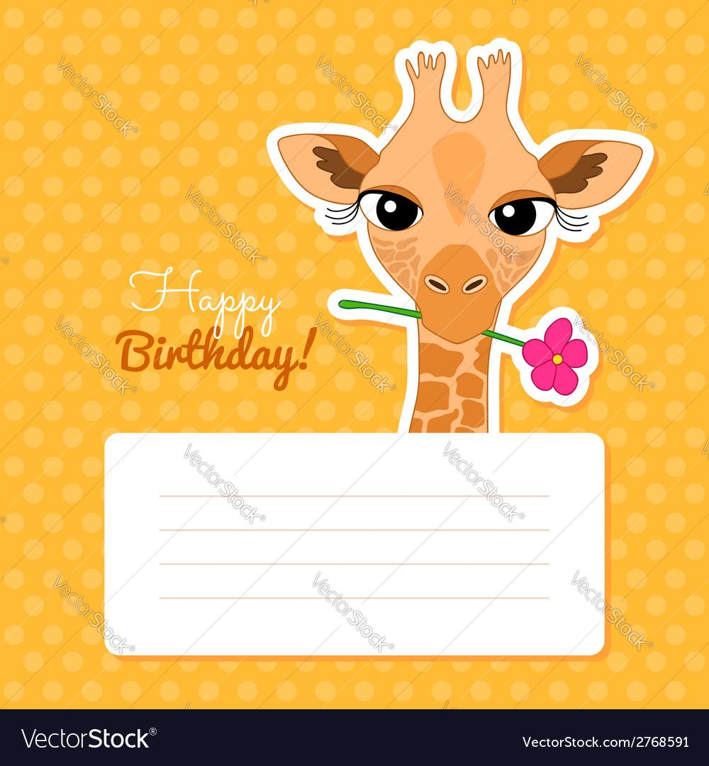 Happy birthday card with cute cartoon giraffe vector   Price: 1 Credit (USD $1)