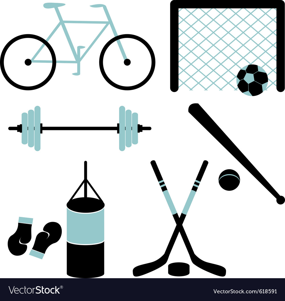 Set of sporting equipment isolated vector | Price: 1 Credit (USD $1)